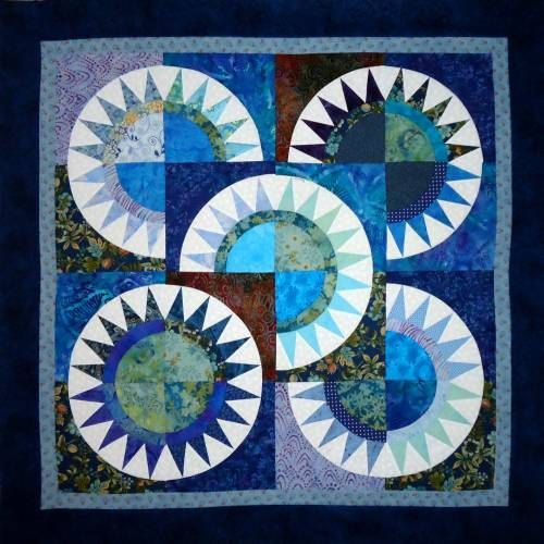 Quilt Top Ready to Quilt New York Beauty in Blue by by Patchmaker, $50.00