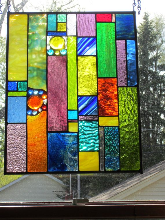 Fabulous Stained glass panel SPARKLE SPARKLE by stanfordglassshop, $190.00