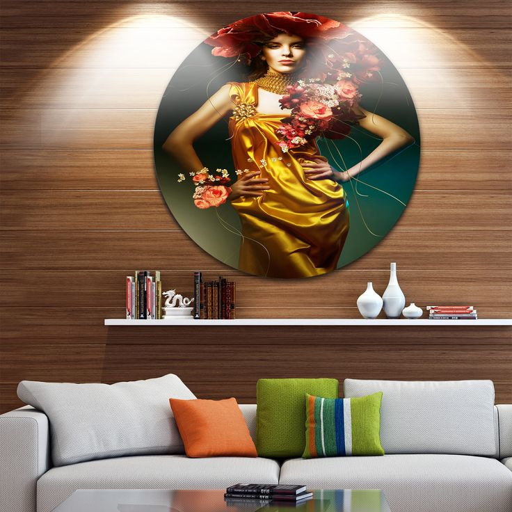Designart 'Sensual Woman in Dress' Portrait Digital Disc Metal Wall art