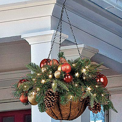 Christmas Ornament Hanging Basket - Something like this but more rustic:)