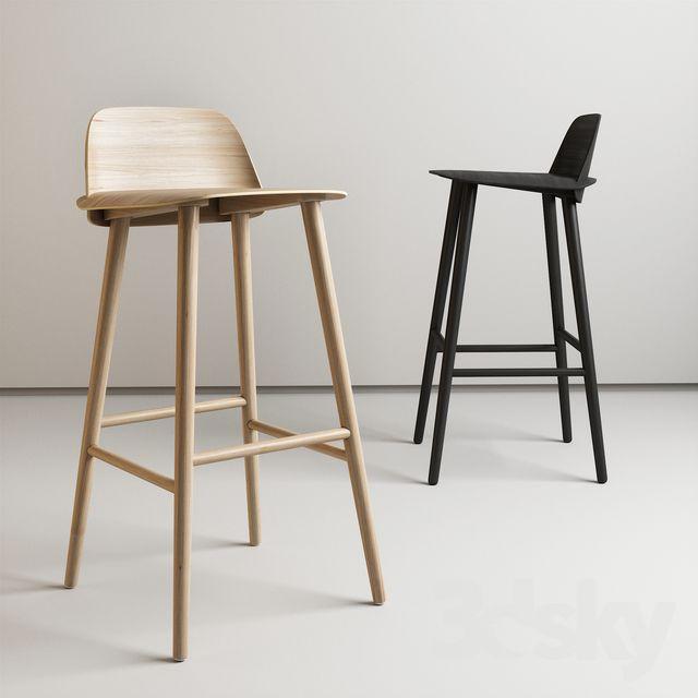 3d Models Chair Nerd Bar Stool By Muuto Oak Bar Stools Bar