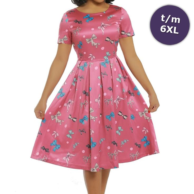 Lindy Bop Swing Elodie jurk met strikken print roze - Vintage, 50's, R
