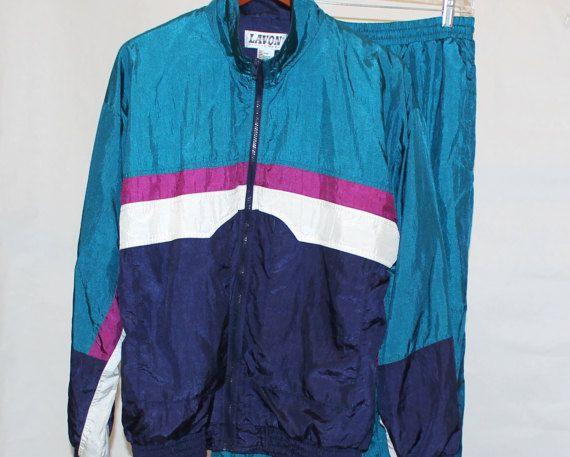 a9b214489d1f9d True Vintage 80s Men LAVON Nylon Wind Windbreaker Track Jogging Gym  Exercise Suit Jacket Coat Pant Set Turquoise M Medium