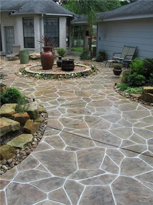 Flagstone Concrete Patios And Walkway Idea.