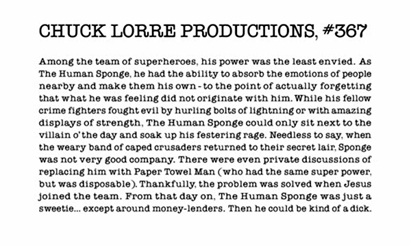 One of Chuck Lorre's best Vanity Cards.