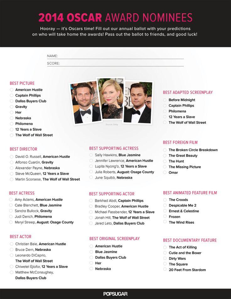 Printable Oscars Ballot 2014