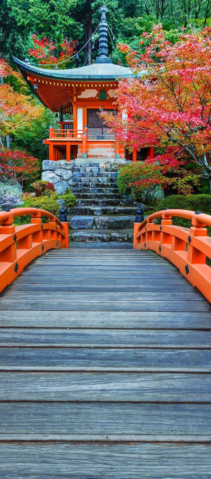 Templo Autumn At Daigoji en Kioto, Japón.