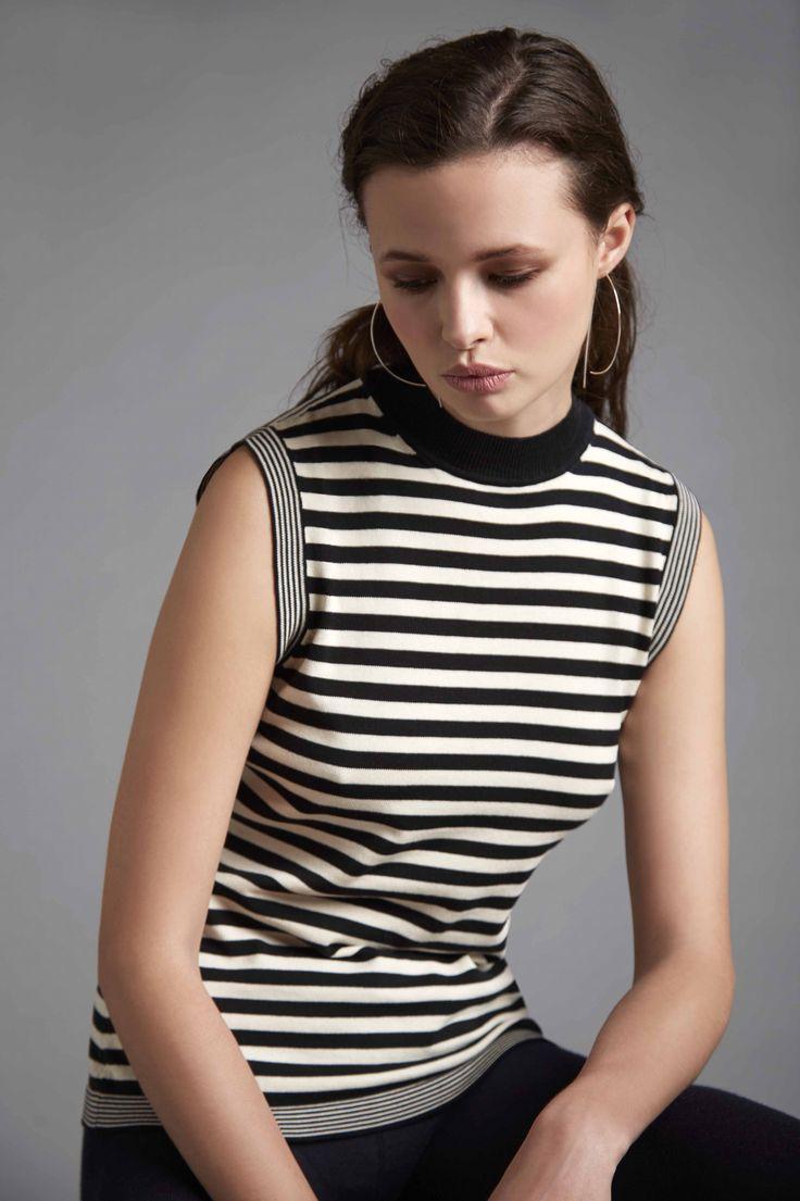 Moca neck striped tank top