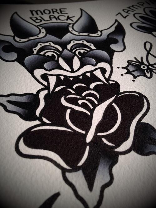 Black devil tattoo design. #tattoo #tattoos #Ink