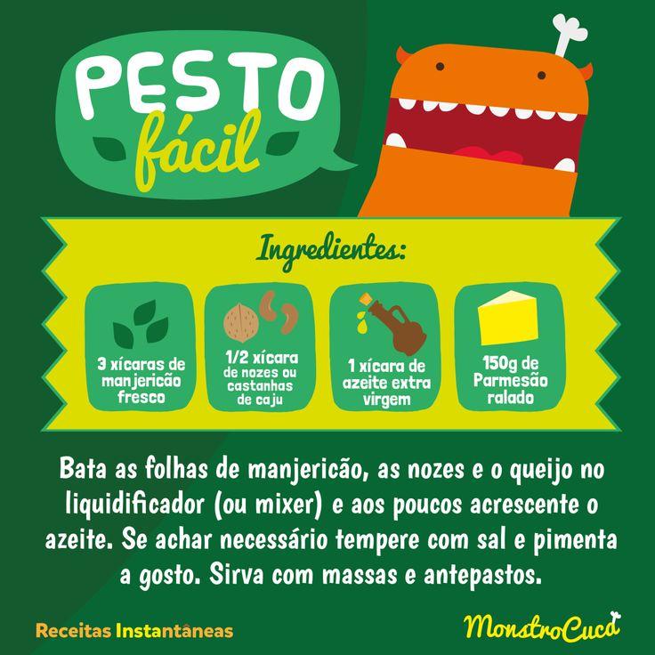 Molho Pesto, receita fácil e deliciosa para acompanhar massas e muitos outros pratos.