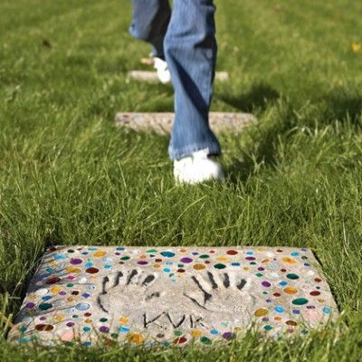 I'd love to make stepping stones of my grandchildren's hand and foot prints each year on their birthdays .....