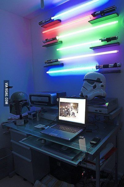 Unique office lighting for y'all Star Wars fans. Brilliant. Need bargain deal LED sabers for May 4th Star Wars Day?! Gotcha covered, jedi: http://www.flashingblinkylights.com/light-up-products/swords-sabers-weapons.html?utm_source=Pinterest&utm_medium=Swords%20Sabers%20Weapons&utm_campaign=May%20The%20Fourth%20Be%20With%20You