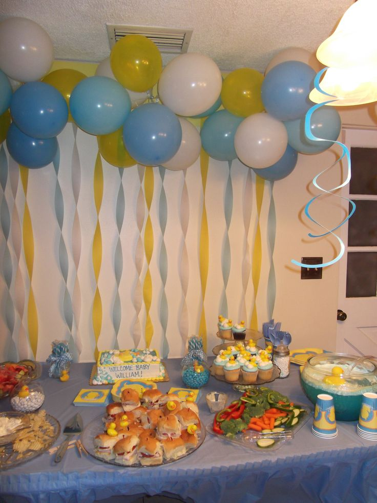33 best images about baby shower patito on pinterest for Balloon and streamer decoration ideas
