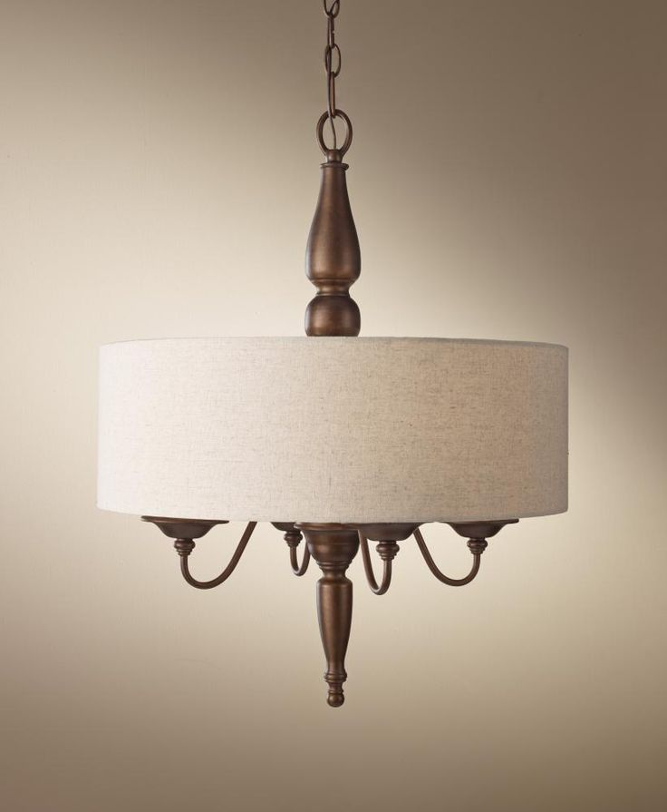 Four Light Bronze Drum Shade Chandelier | Williams Lighting Galleries