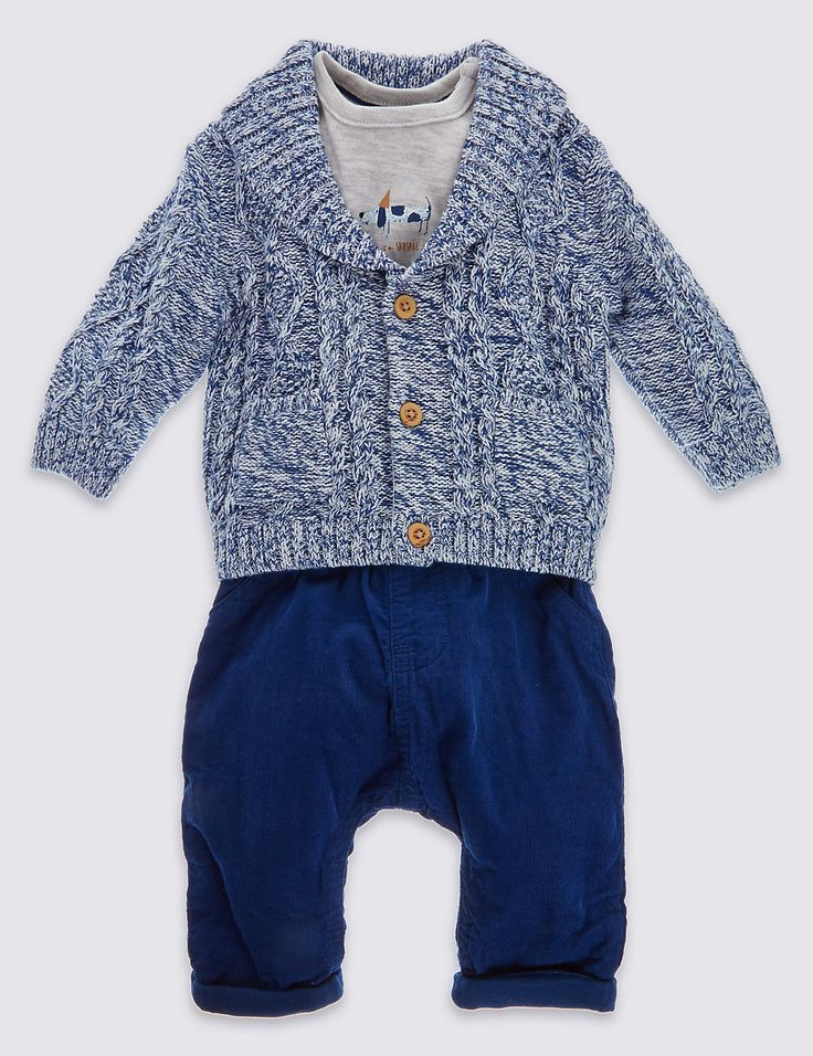 3 Piece Cardigan T-Shirt and Trouser Set | Marks & Spencer London