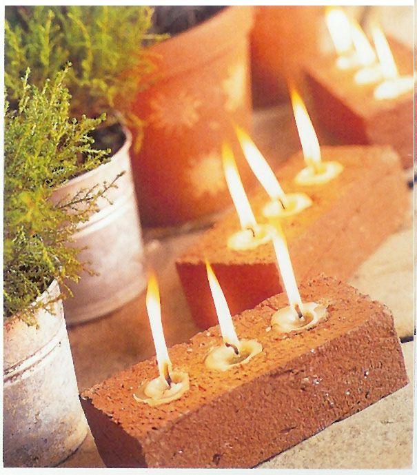 Great idea for outdoor lighting:: Tea lights in brick!