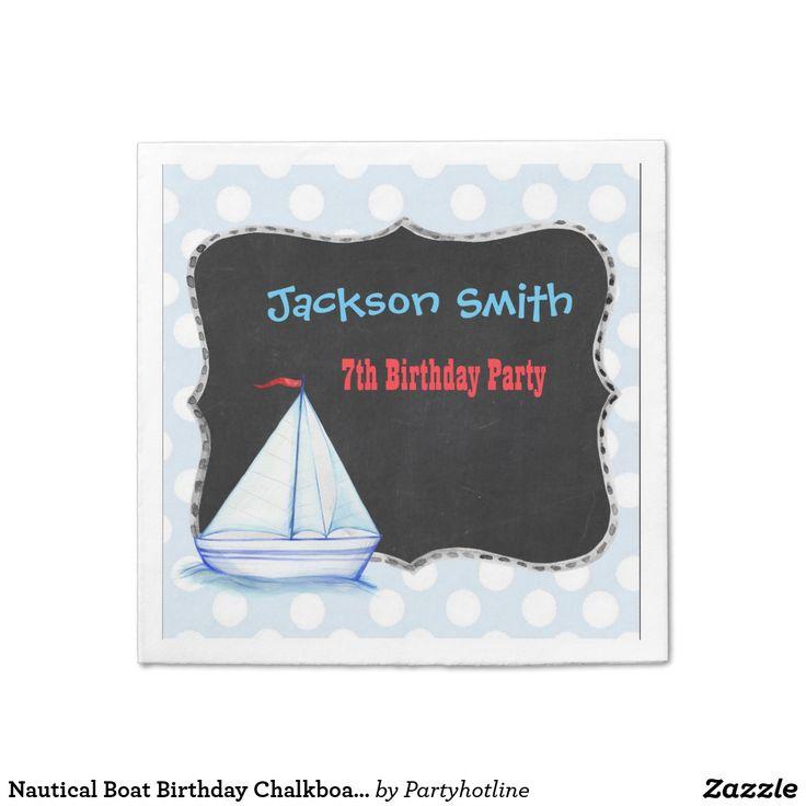 Nautical Boat Birthday Chalkboard Customize Party Paper Napkin