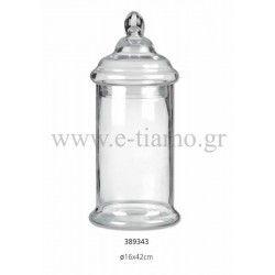 Διακοσμητική Γυάλα με Καπάκι Διάσταση: Φ16 Χ 42 cm
