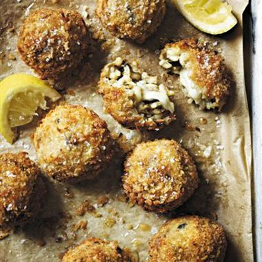 Easy Arancini crispy mushroom risotto balls.If the link doesn't take you directly to the recipe.  Here's the link http://www.epicurious.com/recipes/food/views/Easy-Arancini-51161800?mbid=RF=5414875=MjYwNDYyNzUzMDcS1=317698433=MzE3Njk4NDMzS0