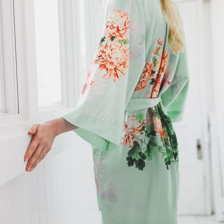 Print Kimono Short Robe - Coral Chrysanthemum (black, blue, glacier, meadow blue, plum, teal)