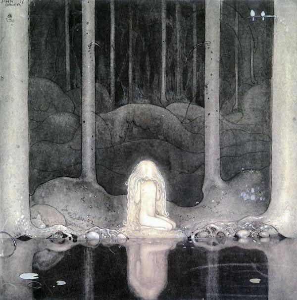 Princess Tuvstarr Looking for Her Heart - John Bauer art print