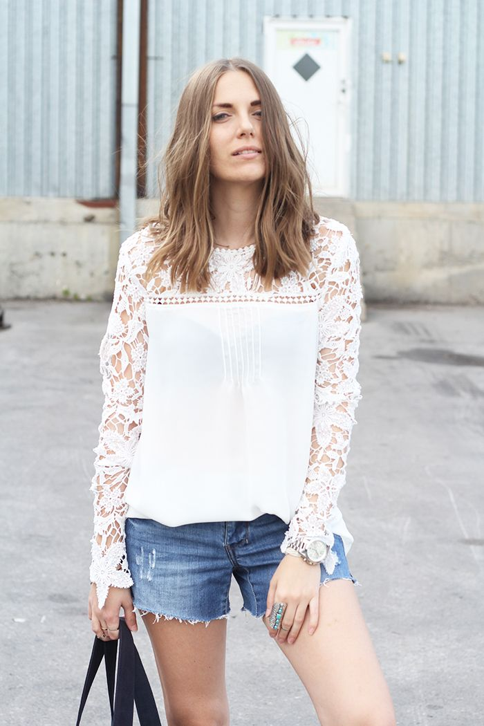 Vanja Milicevic Fashion and style Primark shorts Sheinside blouse #streetstyle