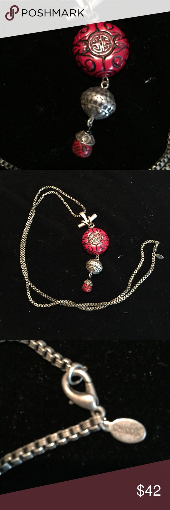 Chico's Asian inspired long necklace Statement piece on long chain.  Red black and gold tones.  Very nice looking piece! Chico's Jewelry Necklaces