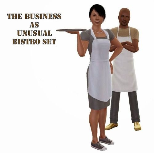 shockshamefinds:  The Business as Unusual Bistro Set by ani_Changes to EA's version: The biggest change is that I split the chef job into two parts, chef and waiter. Instead of hiering a chef, and selecting from pre-defined number of hours, you create shifts. I'll explain shifts in it's own section. Instead of your sim looking like a dead puppet while waiting for their food, I replaced this with sims drinking water from a glass, just like in TS2 Childrean can use this mod too. They won't…