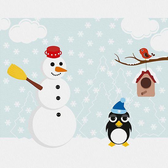 Snowman and penguin enjoying winter