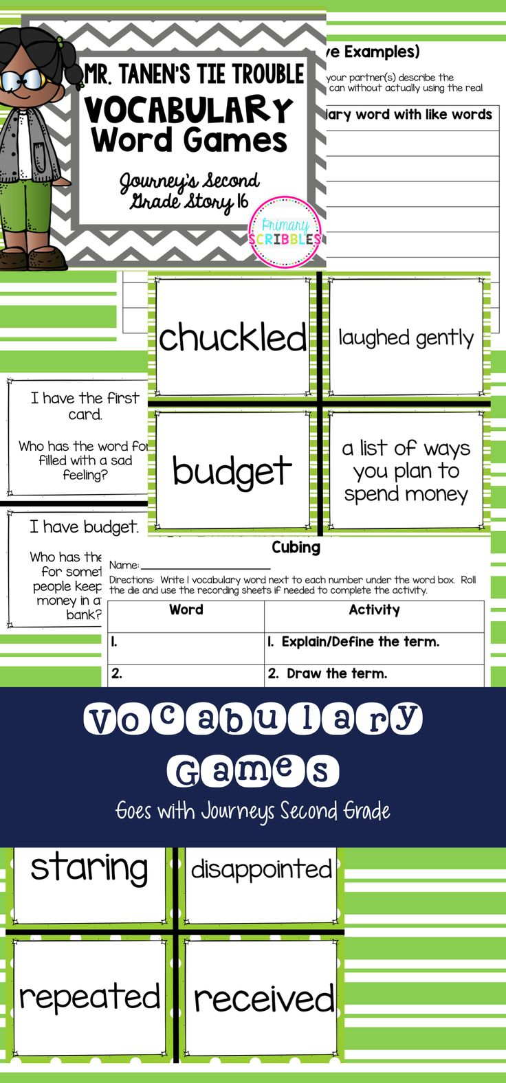 Worksheet Vocabulary For Second Grade mr tanens tie trouble vocabulary word games goes with journeys that go along the story second