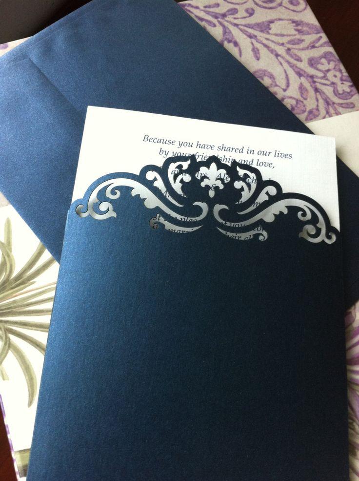 Custom Luxury Pocket Invitations Custom Die Cut by CelineDesigns