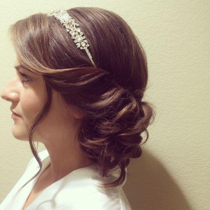 Side bun bridal hairstyle with headband  www.danaraiabridal.com Charlotte, NC