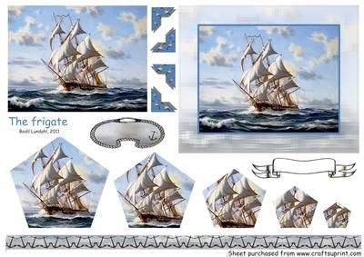 The frigate on Craftsuprint designed by Bodil Lundahl - Sheet with pyramid image including matching border and tags. - Now available for download!