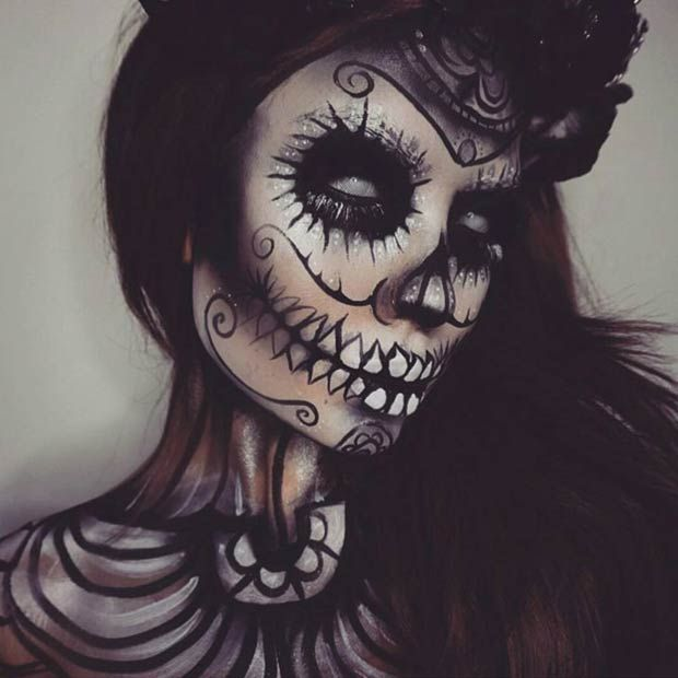 Scary All Black Sugar Skull Halloween Makeup Look