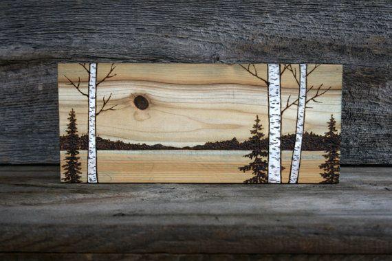 Across The Meadow - Wood burned Landscape Art on Wood TwigsandBlossoms Etsy