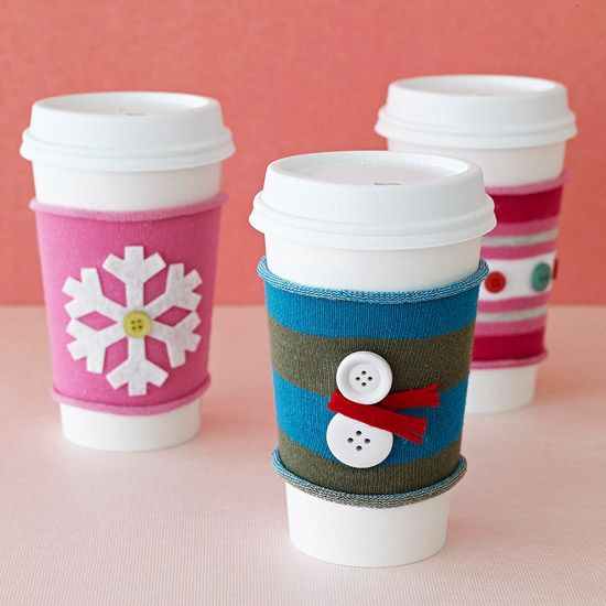 Holiday Coffee Sleeves from holiday sock sections. I will buy the reusable coffee cup and add these plus a $5 gift card for a coffee shop.