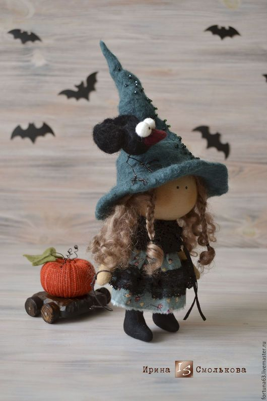 Collectible Dolls handmade. Livemaster - handmade. Buy textile doll WITCH.Dark green, themed gift, wool for felting