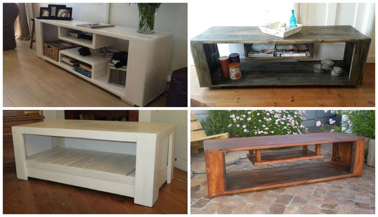 All of these Plasma units or TV stands/racks were made using the wood from old pallets recycled and painted or sanded. [symple_box color=\