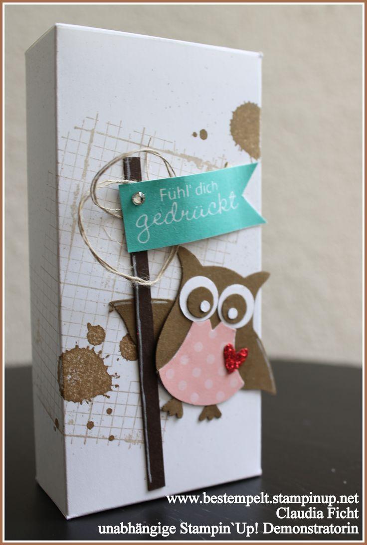 Stampin`Up!, Owl-punch, Tissue-Box, Taschentücher. Eulenstanze, Gorgegous Grunge, Off the Grid, Fahnengruß, Anleitung