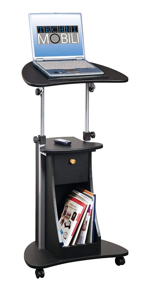 Techni Mobili Deluxe Rolling Laptop Cart With Storage Black Laptop Stand Desk Storage