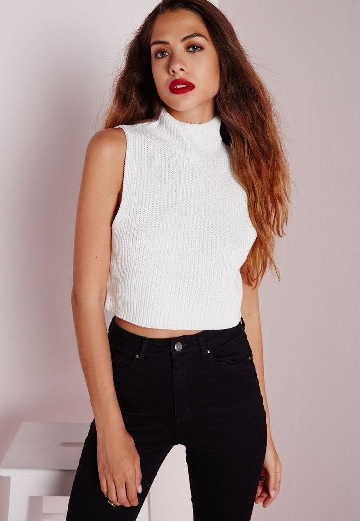 Missguided - High Neck Crop Knitted Rib Vest White