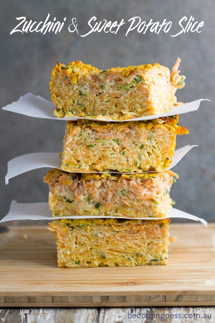 This zucchini & sweet potato slice works well either served hot or cold and makes the perfect work lunch