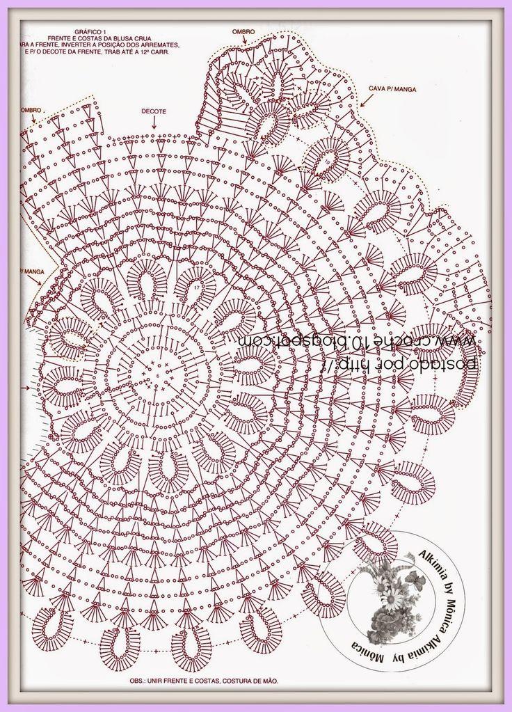Best 61 PAP BLUSA ASIMÉTRICA images on Pinterest | Poleras crochet ...