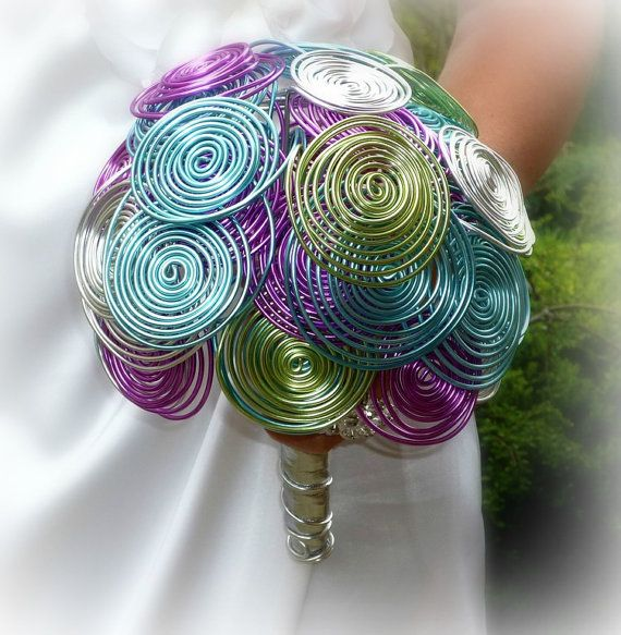 Alternative wedding bouguet Rainbow time , hairgrip and boutonniere via Etsy
