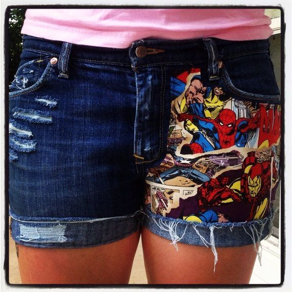❤ Denim shorts with Avengers fabric inset, Umm yes please! OR any cool fabric for that matter!
