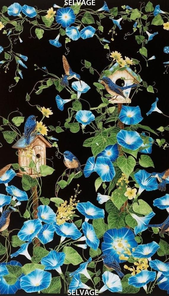 "Timeless Treasures Morning Glory Bird Birdhouse Black Blue 23/"" Fabric Panel"