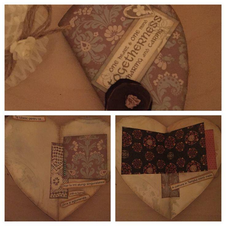 Heart shape Handmade album/ album handmade in forma de inima. Love is all around. Albumul are locuri special create pentru poze si mesaje. www.kadoly.ro