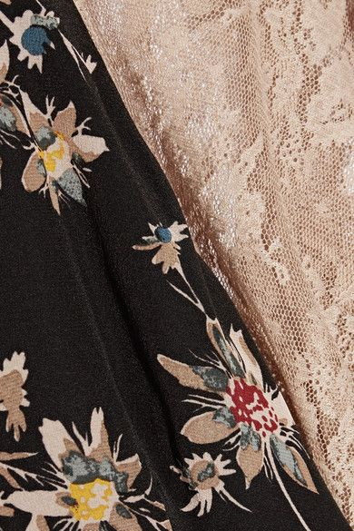 Multicolored silk crepe de chine, blush lace Hook-fastening keyhole at back 100% silk; trim: 100% polyester Dry clean