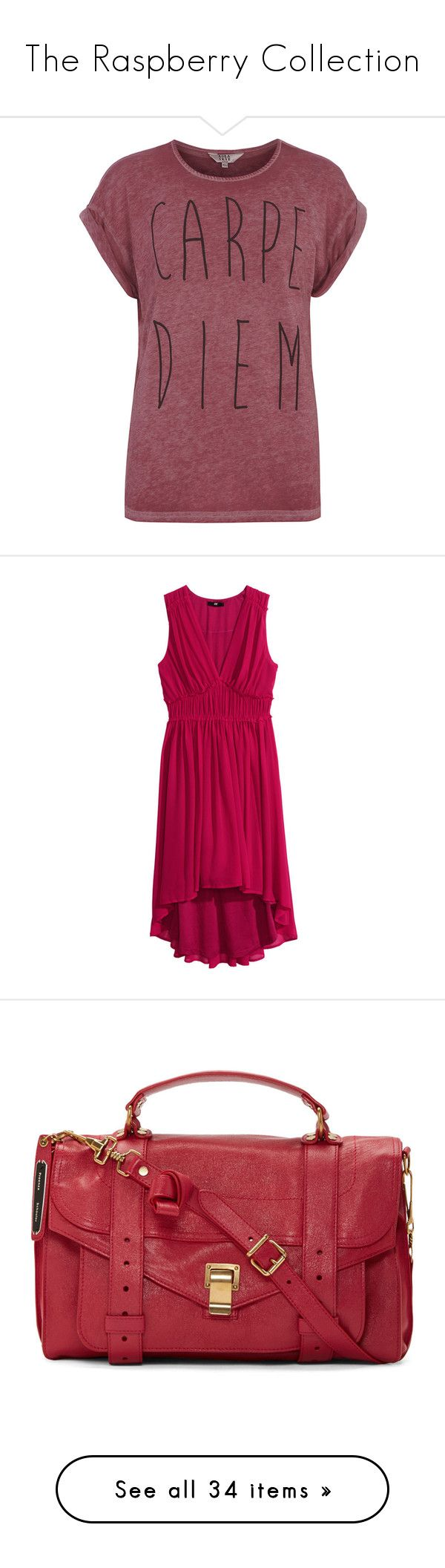"""""""The Raspberry Collection"""" by mon-ami-louis ❤ liked on Polyvore featuring raspberry, tops, t-shirts, shirts, tees, pink, slouchy tee, pink short sleeve shirt, red t shirt and polyester t shirts"""