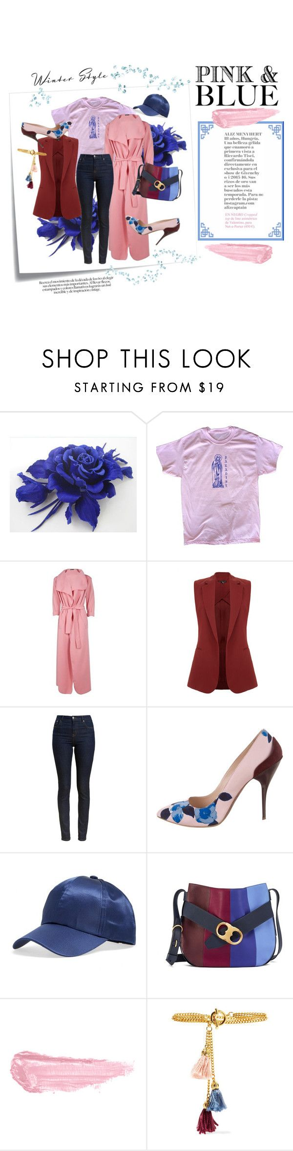 """""""Color Challenge: Pink & Blue."""" by meechsmommy ❤ liked on Polyvore featuring Post-It, Boohoo, Theory, Barbour, Oscar de la Renta, Fantasia, Tory Burch, By Terry and Ben-Amun"""
